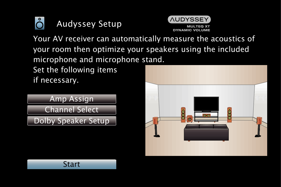 Procedure for speaker settings (Audyssey® Setup) AVR-X2400H